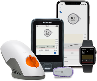 Dexcom G6 Receiver, Transmitter and smart devices showing Dexcom Clarity