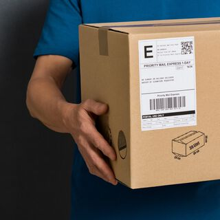 Person holding delivery box