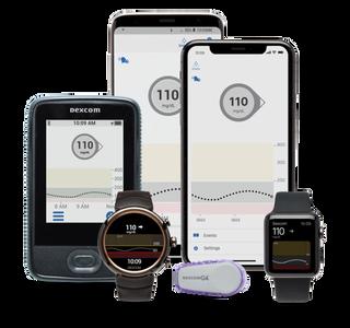 Two phones showing Dexcom app, and Dexcom sensor